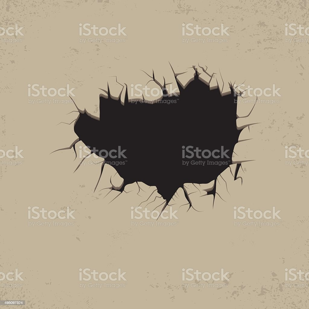 Hole cracks in the wall. vector art illustration