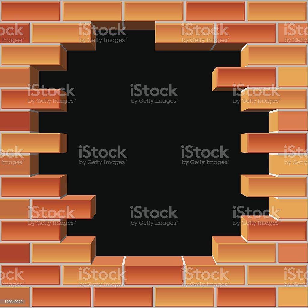 hole in brick wall royalty-free stock vector art