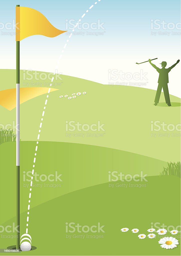 Hole in One Male Golfer vector art illustration