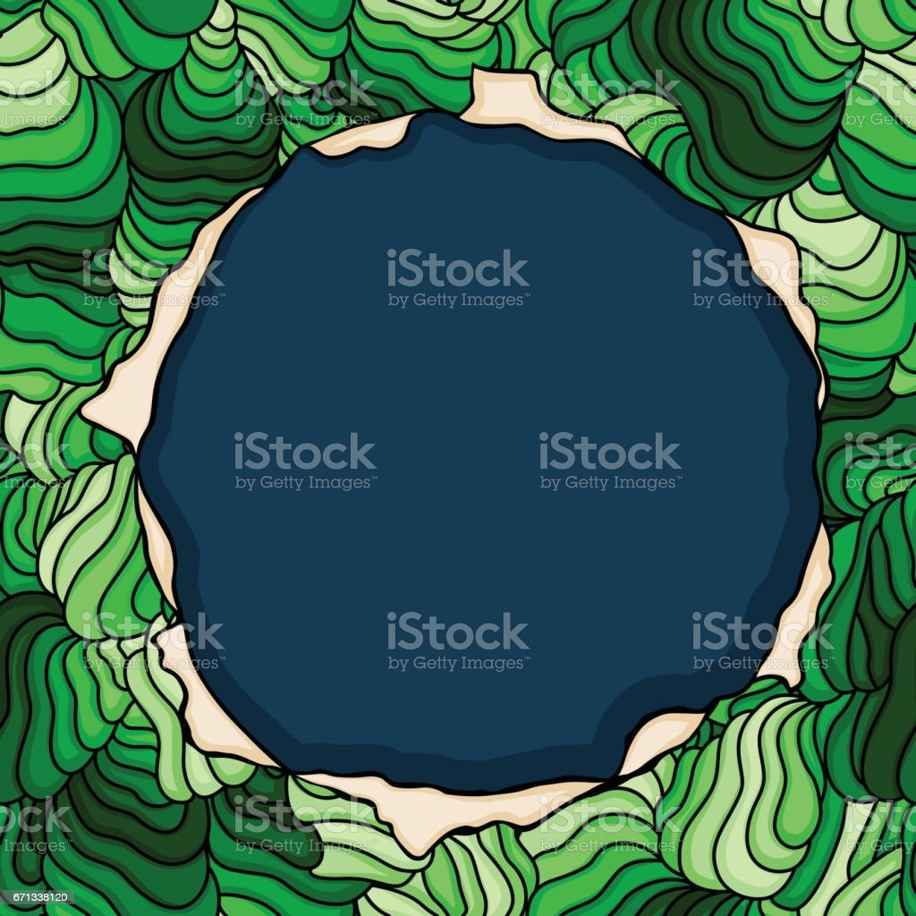 Hole label over green background vector art illustration