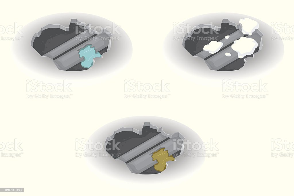 Hole with Burst Pipes vector art illustration