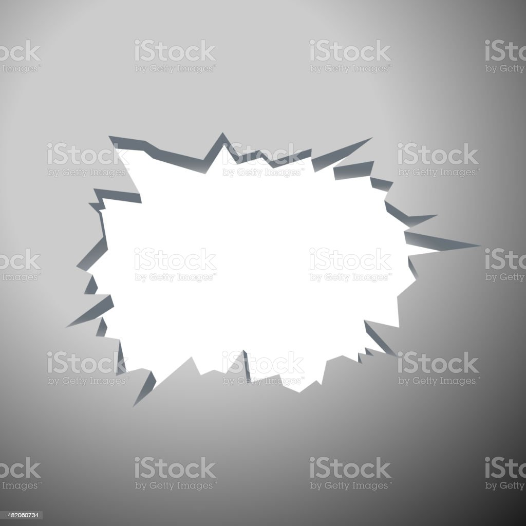 Hole with cracks - Template for a content. vector art illustration