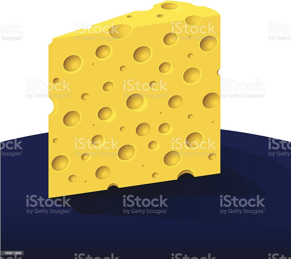 Holey Cheese Wedge royalty-free stock vector art