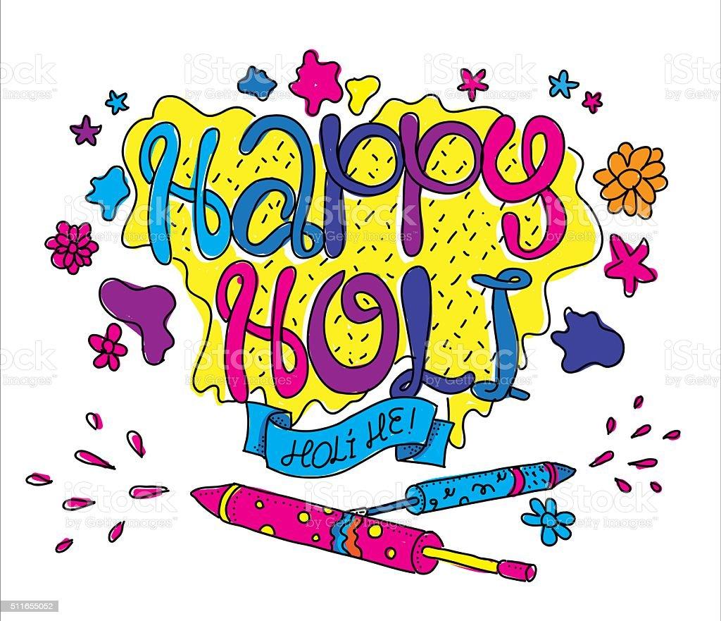 Holi festival greeting card. Hand drawn illustartion vector art illustration
