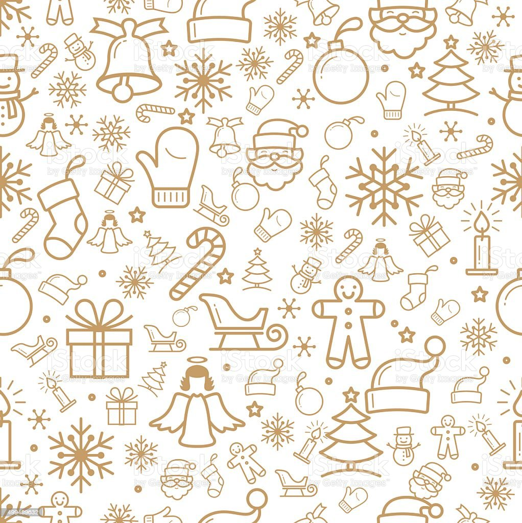 Holiday and Christmas background with icons vector art illustration