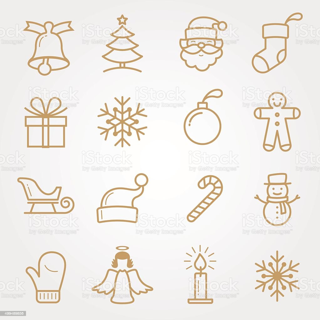 SET Holiday and Christmas Icons vector art illustration