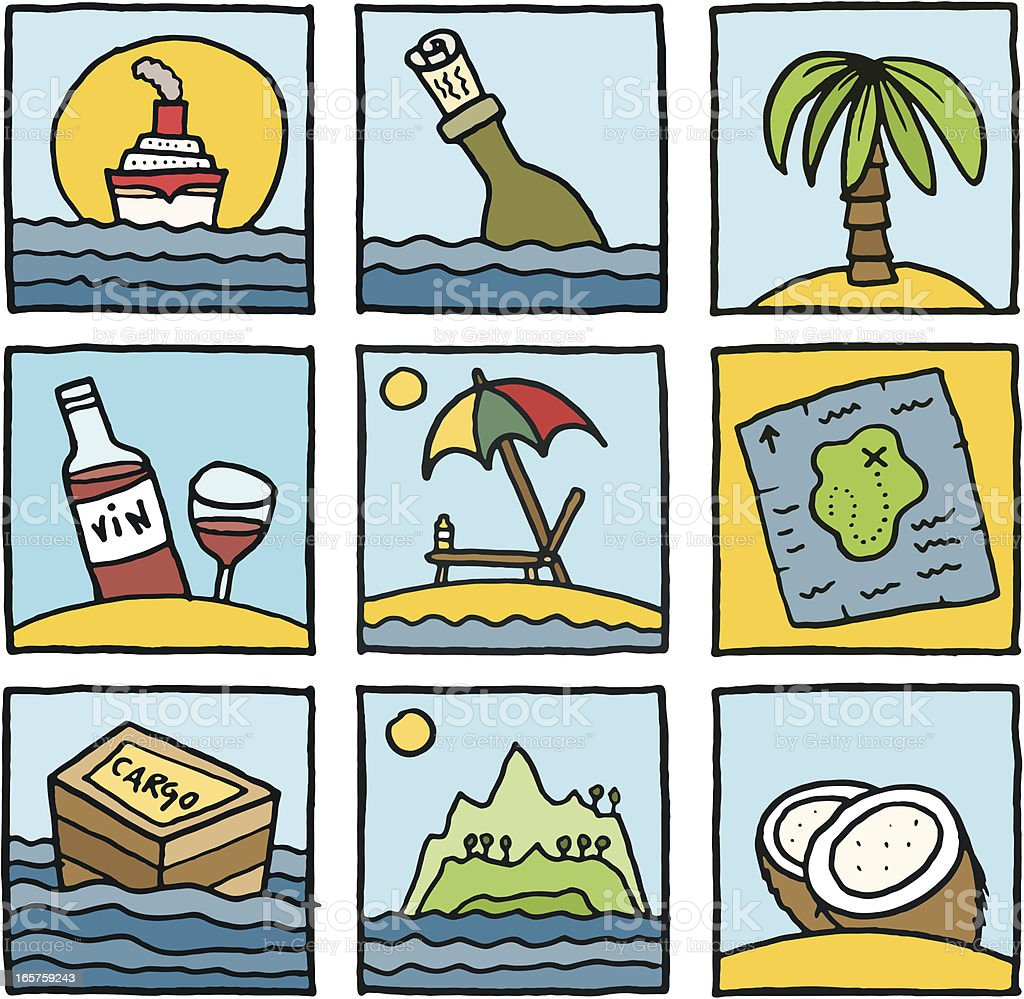 Holiday and travel cartoon block icon set royalty-free stock vector art