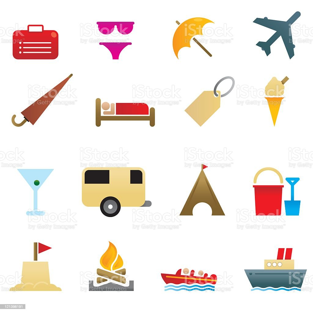 Holiday and Travel Icons royalty-free stock vector art