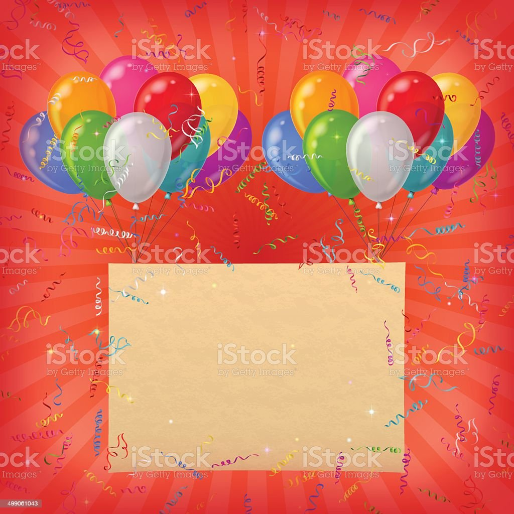 Holiday background, balloons with paper royalty-free stock vector art