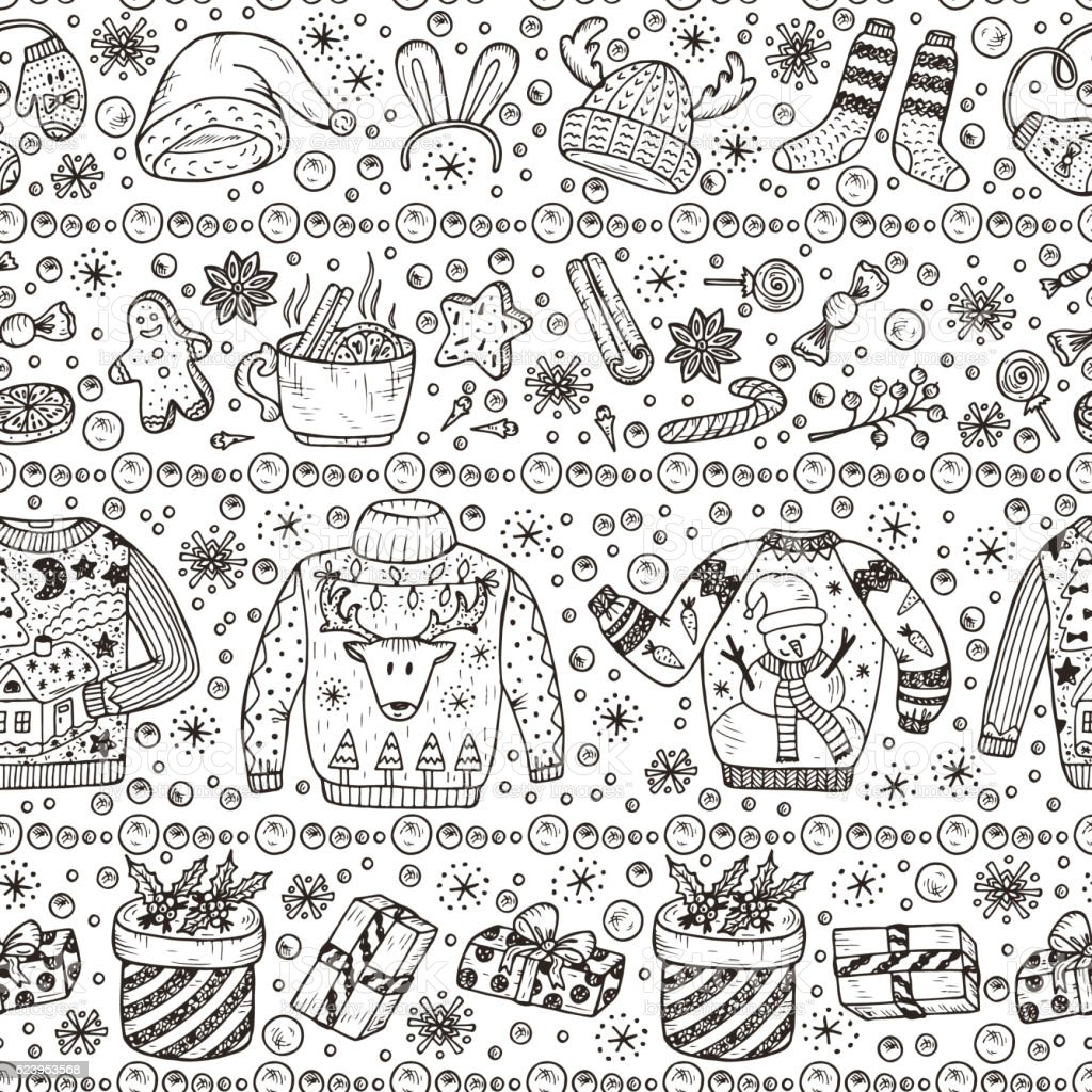 Holiday background. Ugly Christmas Sweater Party. Vector Xmas Seamless pattern vector art illustration
