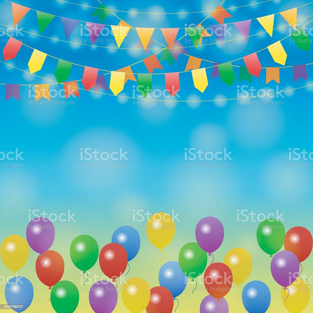 Holiday background with colorful balloons and gift boxes. Vector ...
