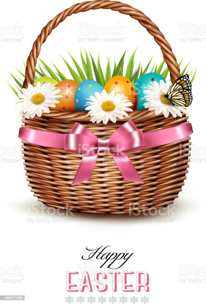 Holiday background with basket full of Easter eggs. Vector. vector art illustration
