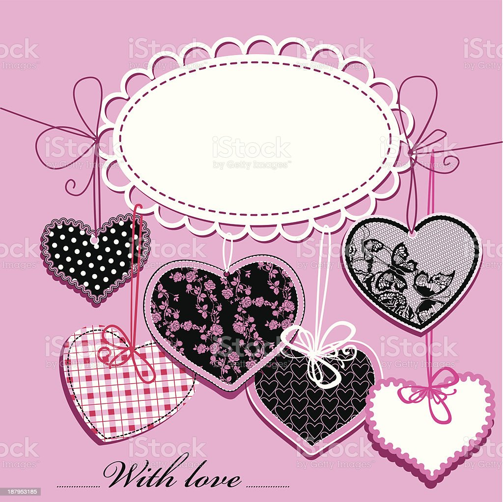 holiday background with black and pink ornamental hearts royalty-free stock vector art