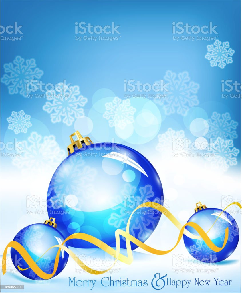 holiday background with blue balls royalty-free stock vector art