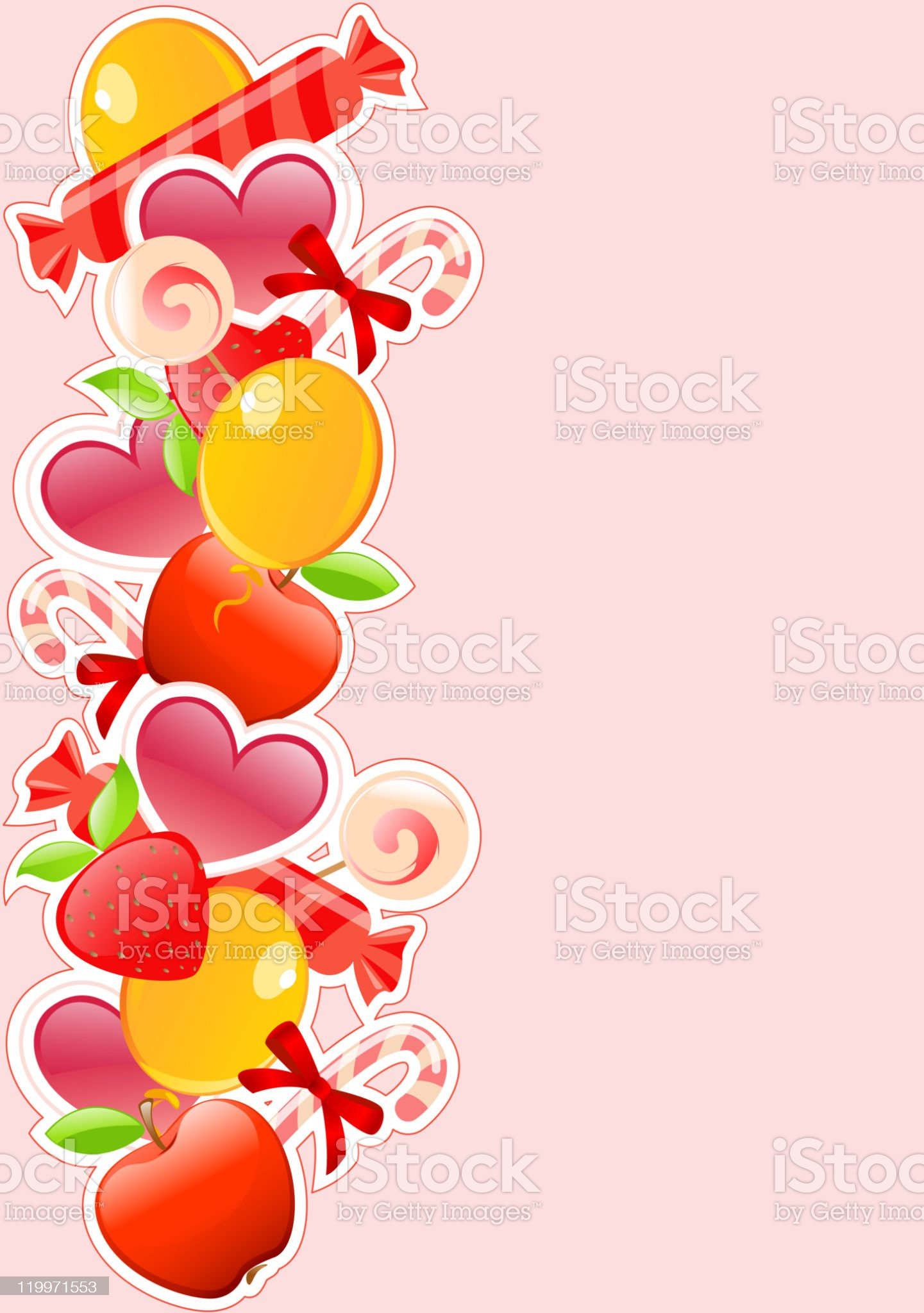 holiday background with candy and fruits royalty-free stock vector art