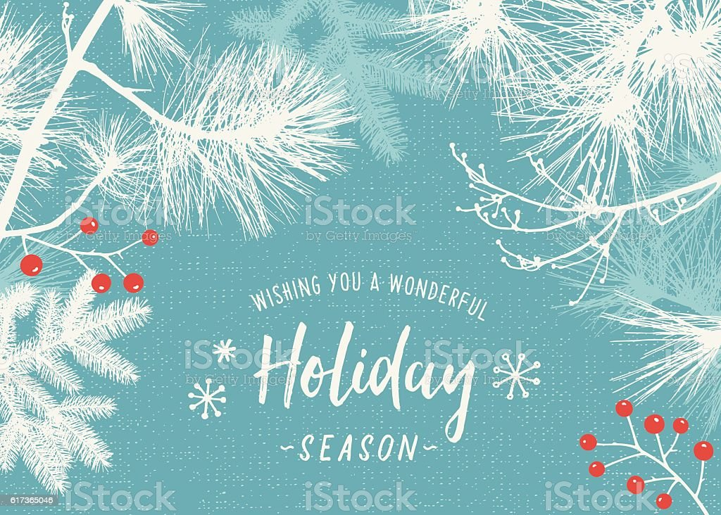 Holiday Background with Evergreen Branches vector art illustration