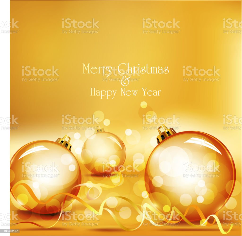 holiday background with gold balls royalty-free stock vector art