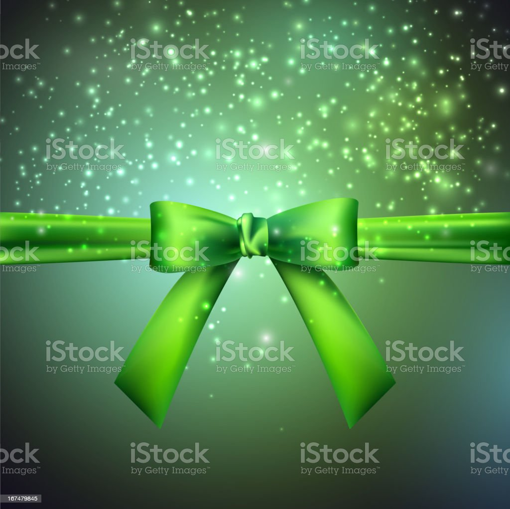 holiday background with green bow royalty-free stock vector art