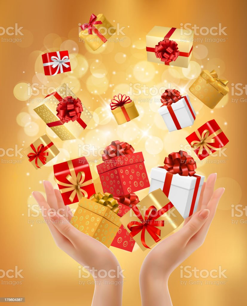 Holiday background with hands holding gift boxes. royalty-free stock vector art