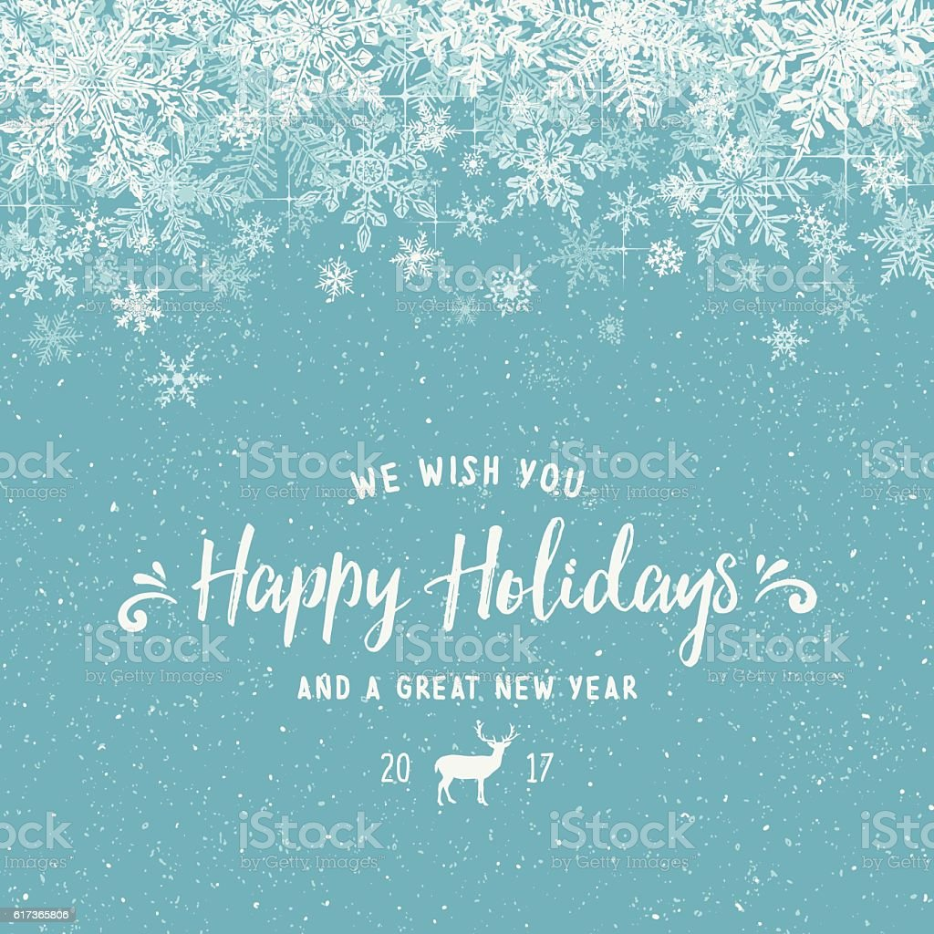 Holiday Background with Layered Snowflake Border vector art illustration