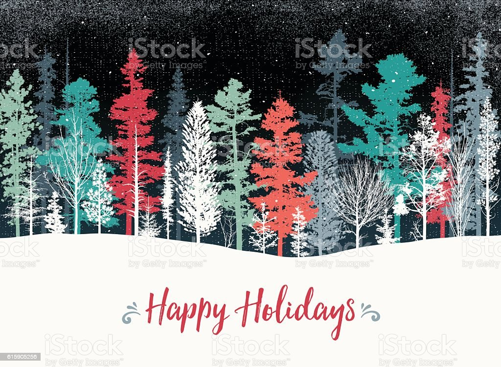 Holiday background with pine trees vector art illustration