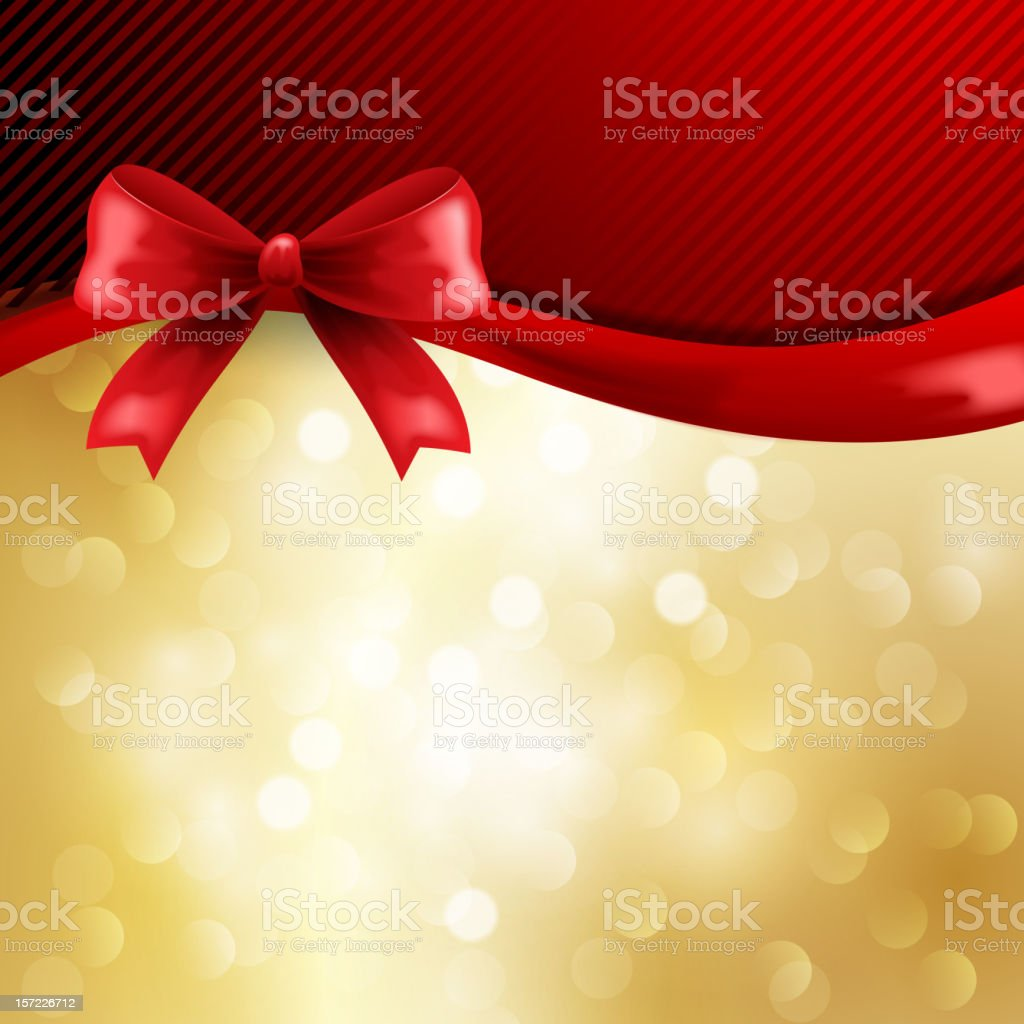 Holiday background with silk red bow royalty-free stock vector art
