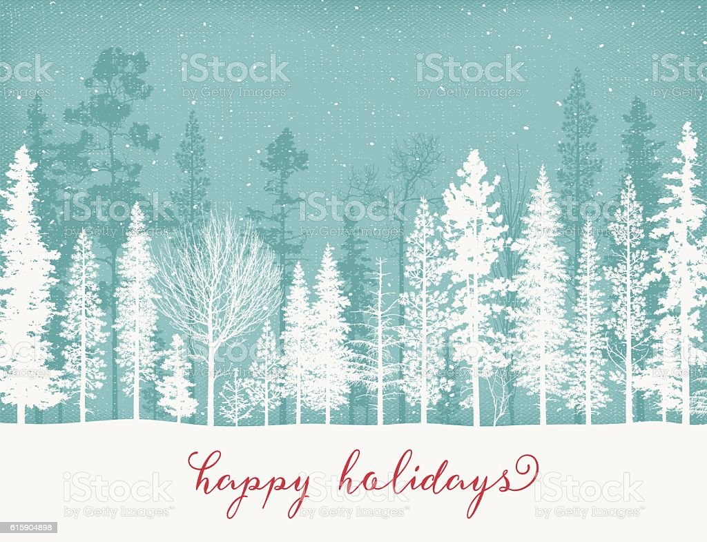 Holiday Background with Snow Covered Trees vector art illustration