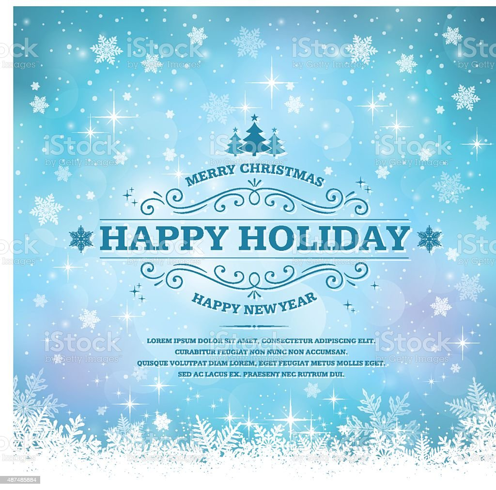 Holiday Background with Snowflakes vector art illustration
