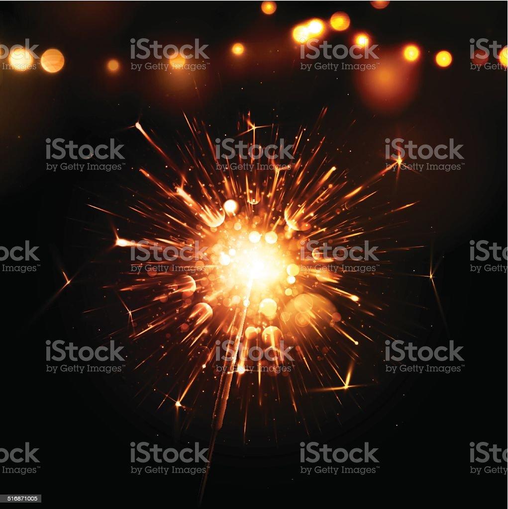 Holiday Background with Sparkler vector art illustration