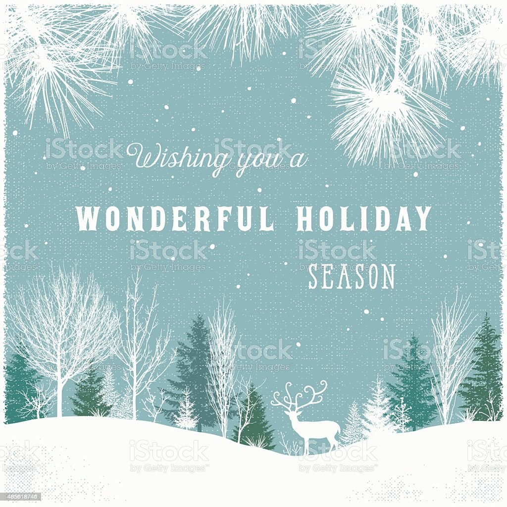 Holiday Background with Winter Forest Scene and Reindeer vector art illustration