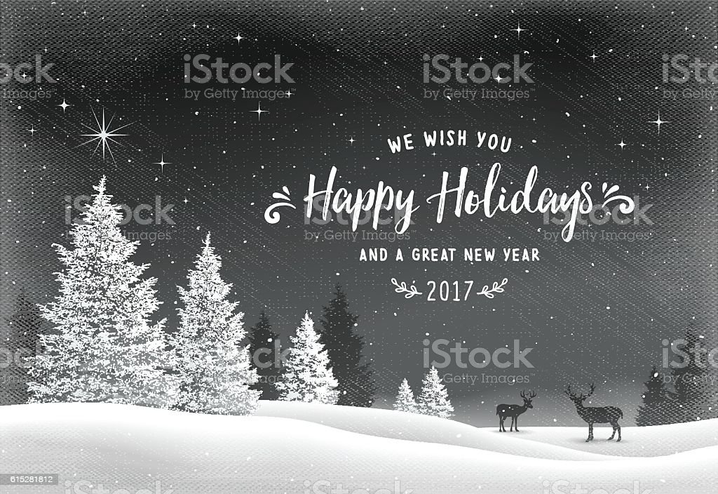 Holiday Background with Winter Landscape and Reindeer vector art illustration