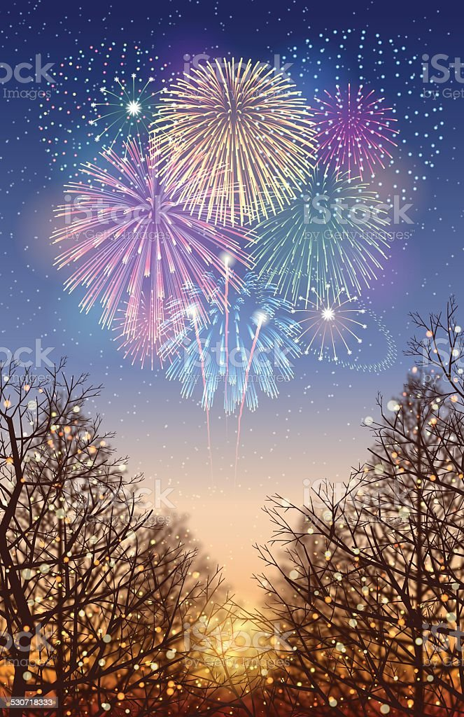 Holiday background[Illumination and Fireworks] vector art illustration