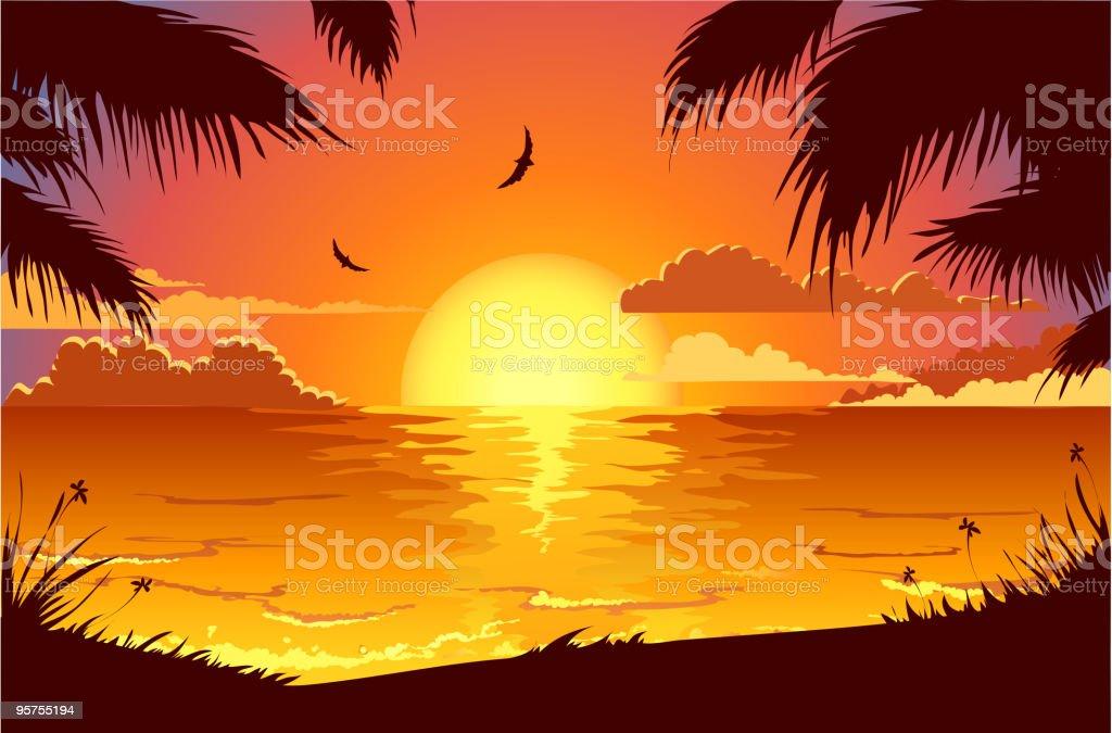 Holiday beach vector art illustration