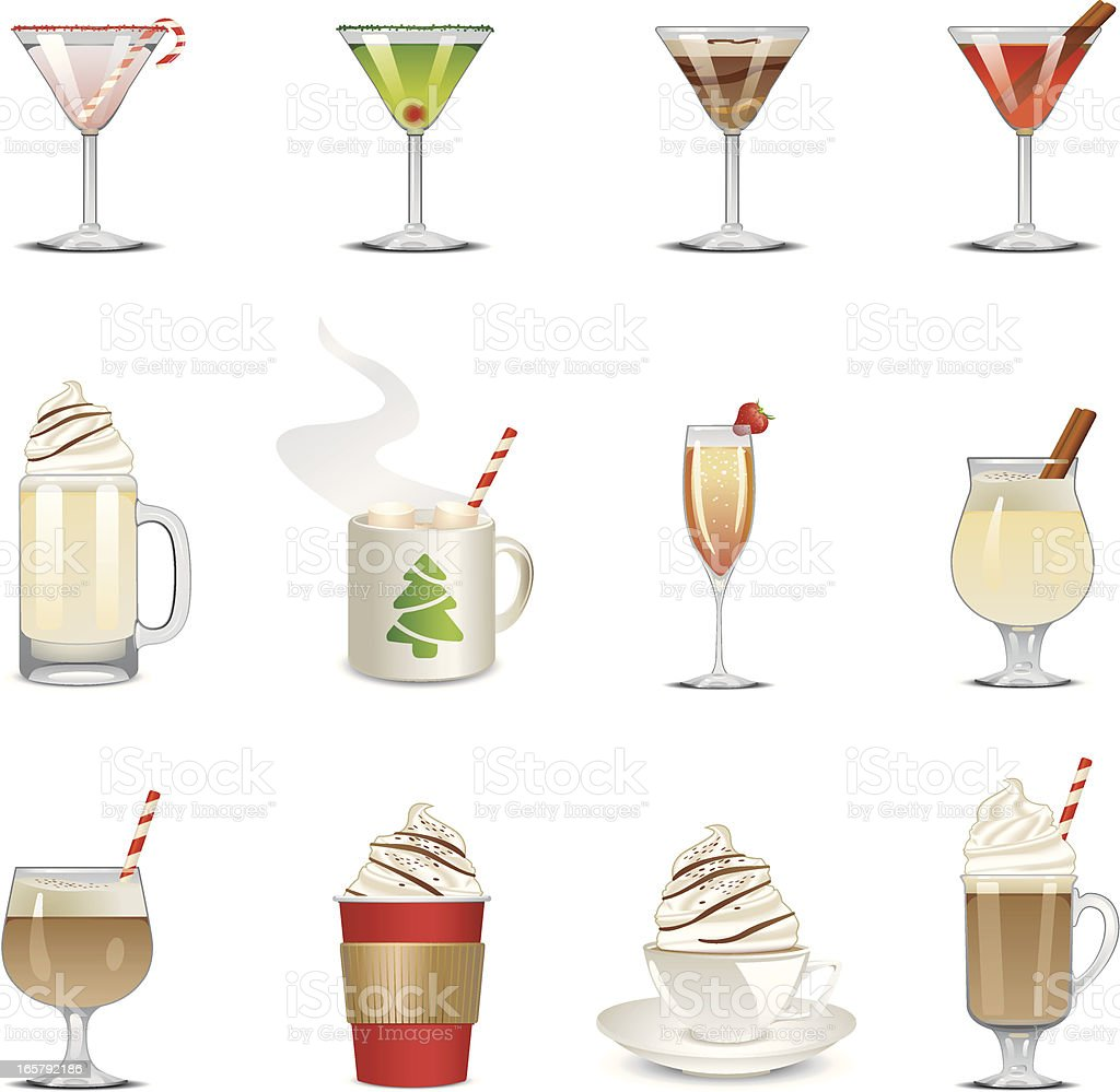 Holiday Beverage Icons vector art illustration