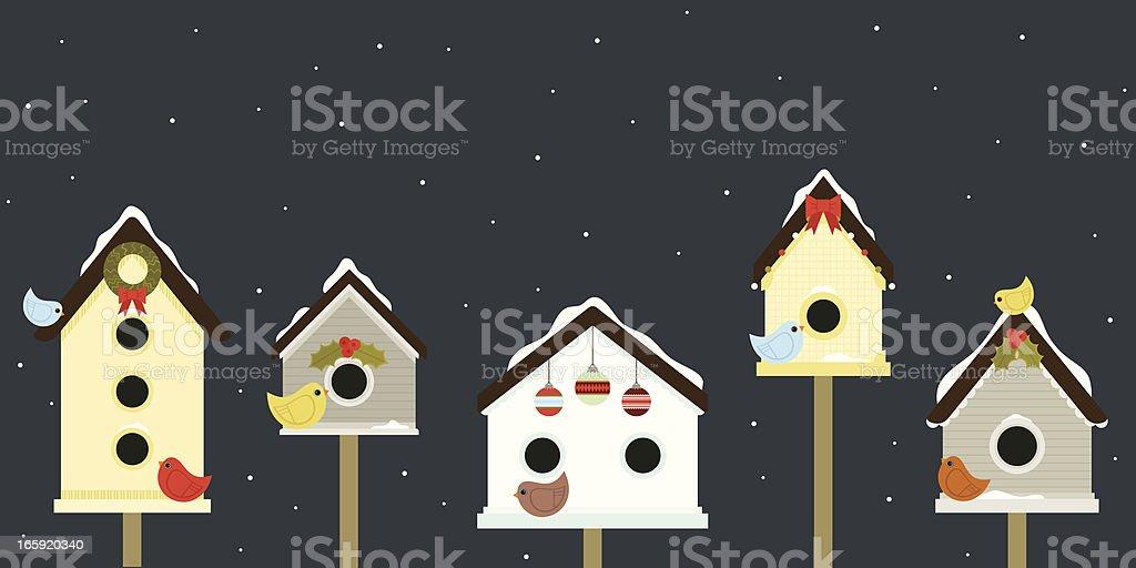 Holiday Birdhouses vector art illustration