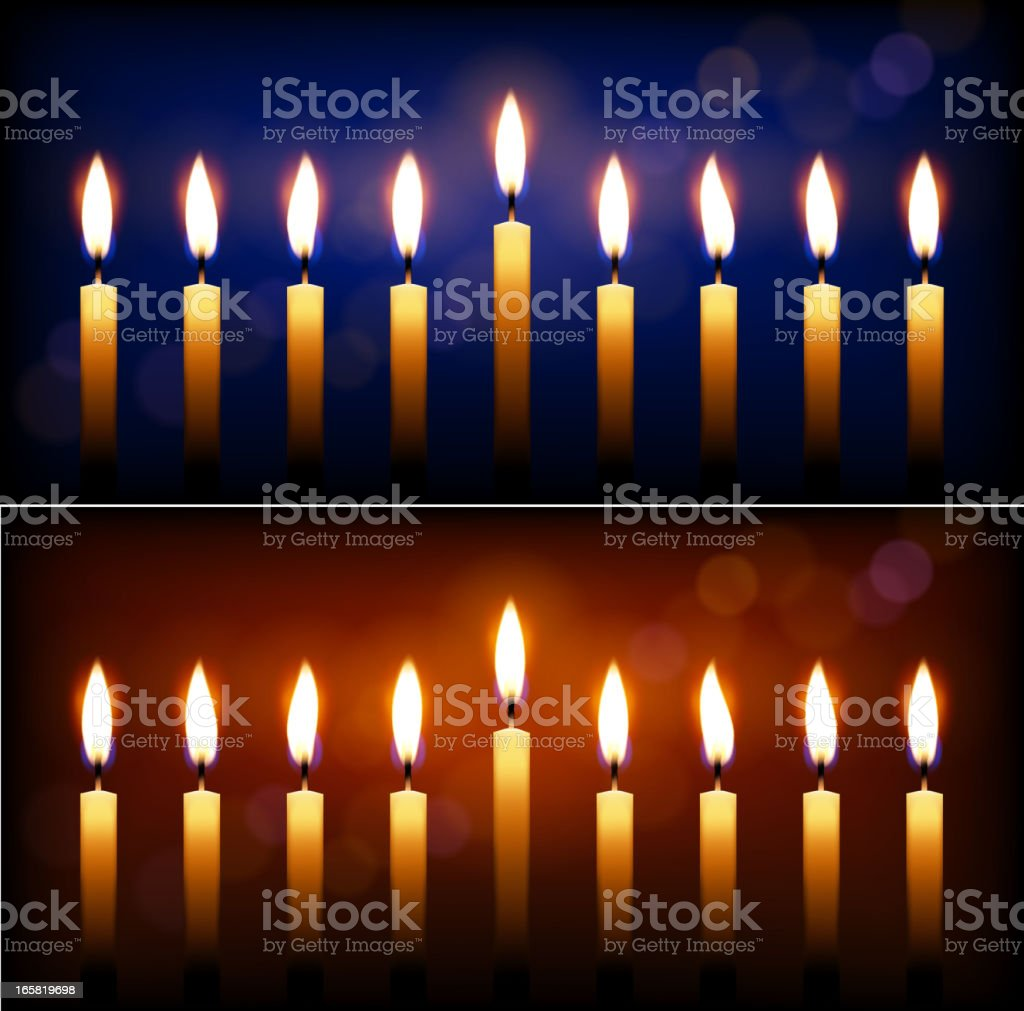 Holiday candles and candle light Hanukkah celebration. vector art illustration