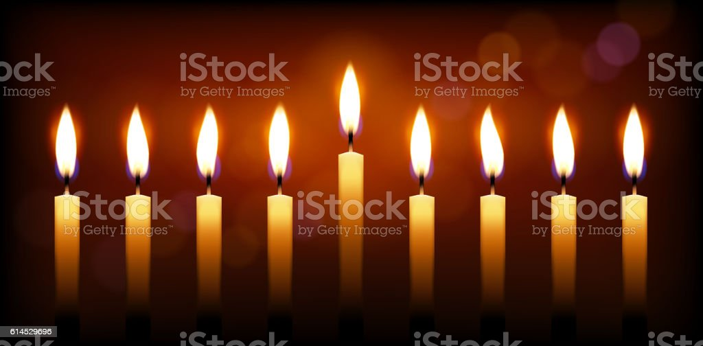 Holiday candles and candle light vector art illustration