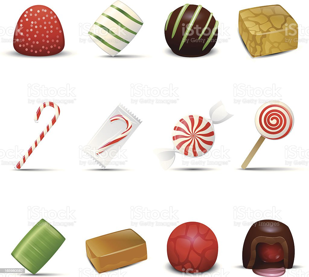 Holiday Candy Icons vector art illustration