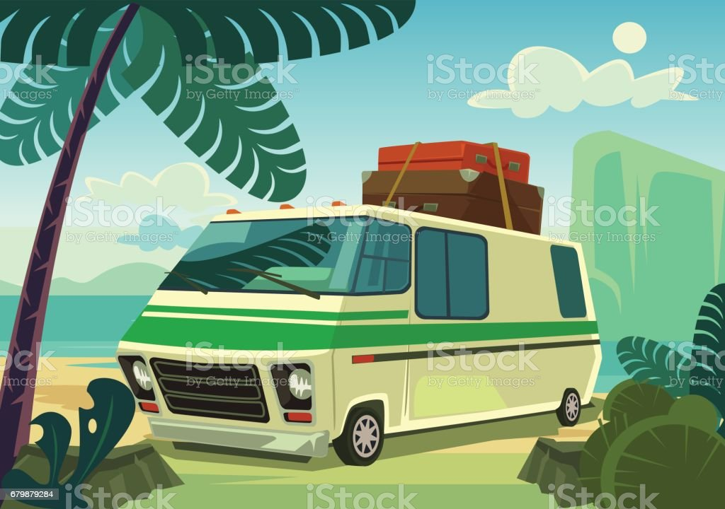 Holiday car vector art illustration