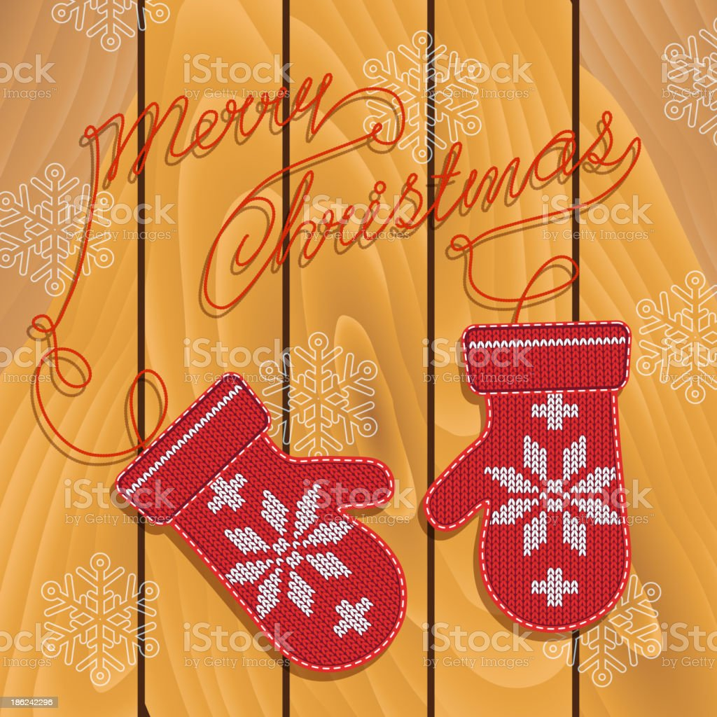 Holiday card design with knitted mittens. royalty-free stock vector art