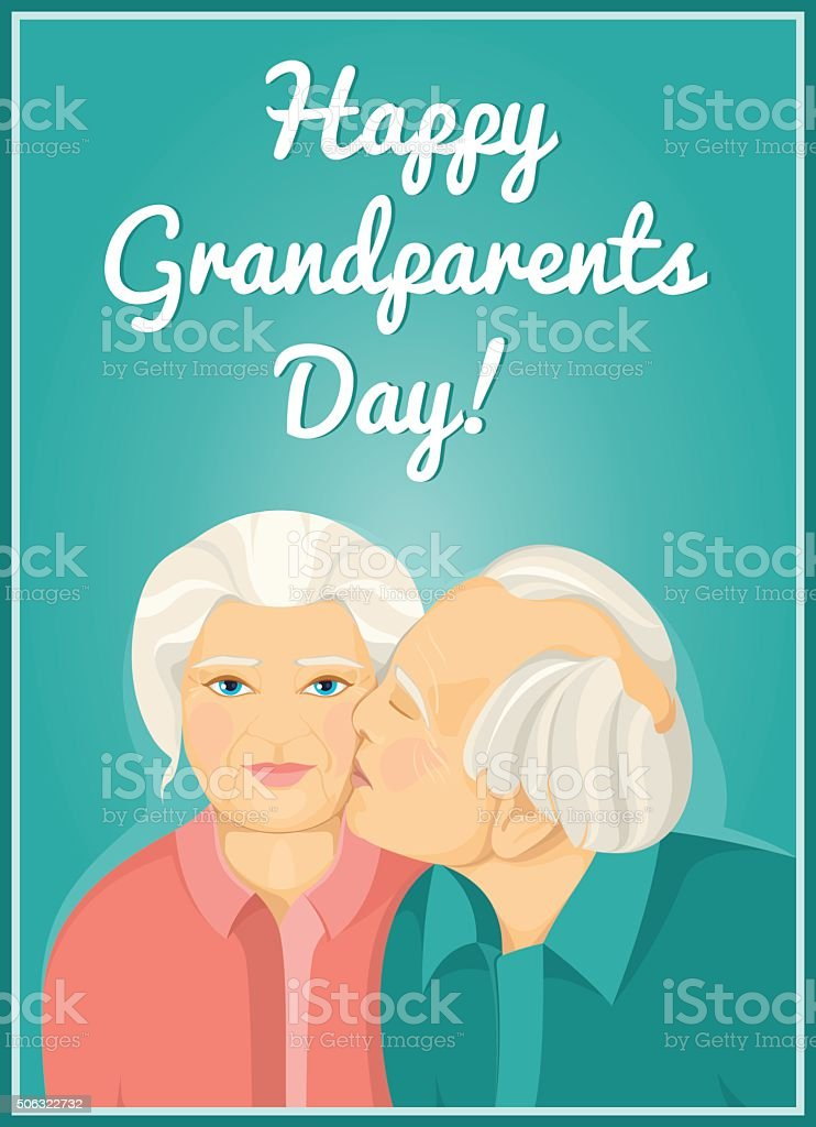 Holiday card. Grandparents Day. Married couple. Grandmother and grandfather. Love. vector art illustration