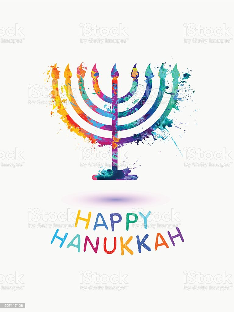 Holiday card. Happy 'Hanukkah' vector art illustration