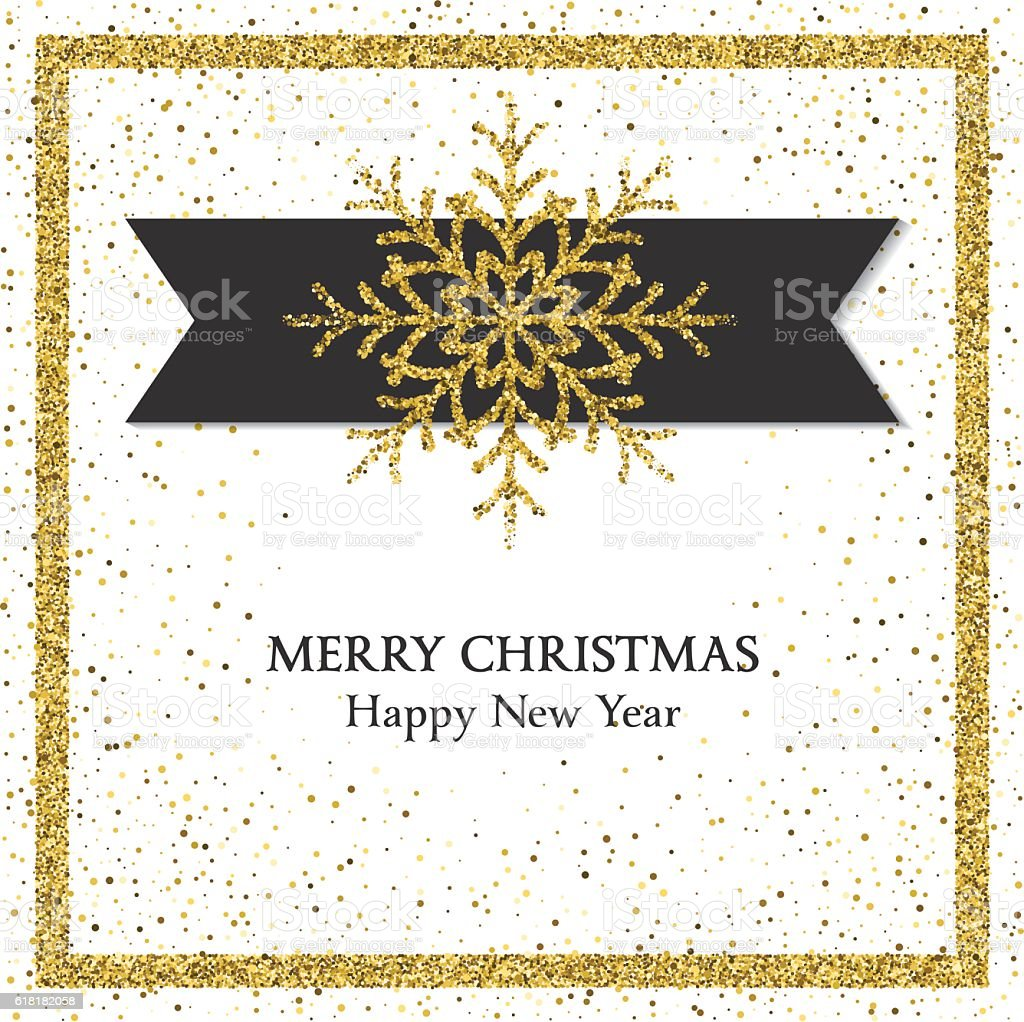 Holiday Card With Golden Metallic Glitter vector art illustration