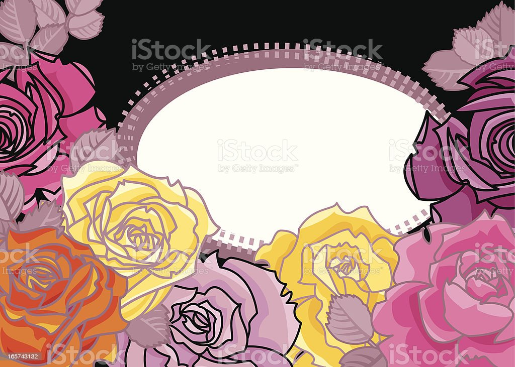 Holiday Card with Roses royalty-free stock vector art