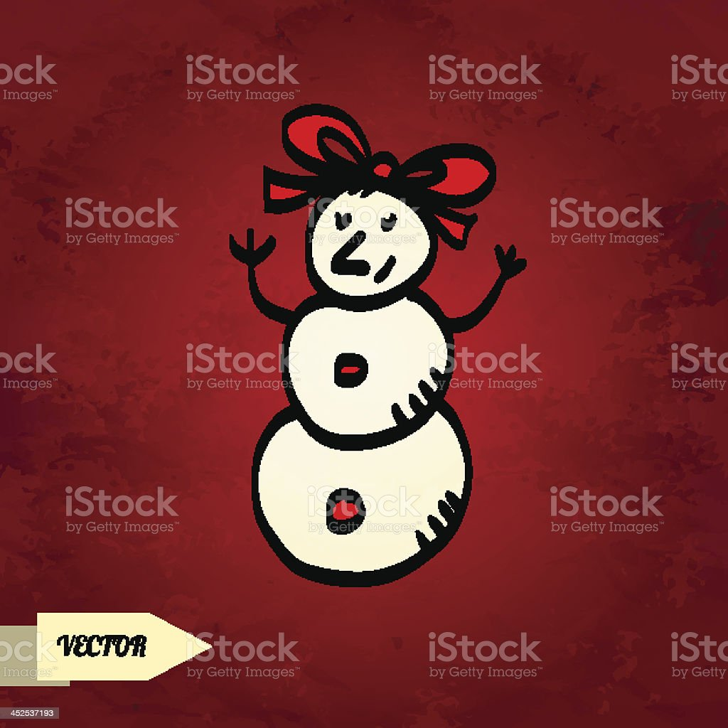 Holiday card with sketch snowman vector art illustration