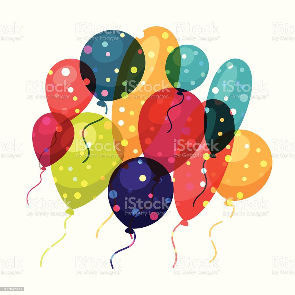 Holiday celebration background with shiny colored balloons. vector art illustration