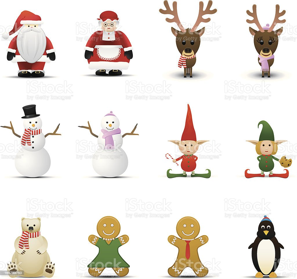 Holiday Characters vector art illustration