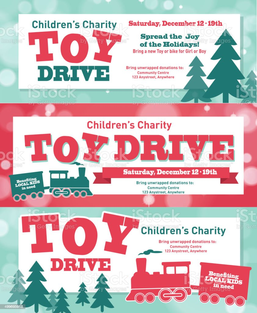 Holiday Charity Toy Drive fundraiser banners design retro bokeh design vector art illustration