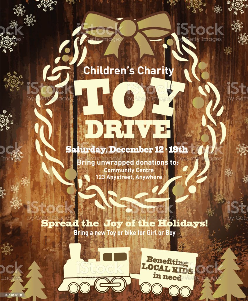 Holiday Charity Toy Drive fundraiser poster design wooden background vector art illustration