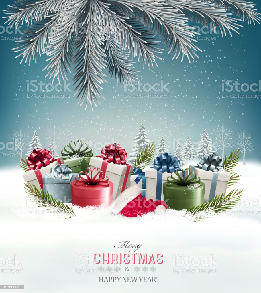 Holiday Christmas background with a gift boxes Vector. vector art illustration
